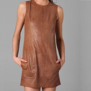 Vince Cognac Leather Mini Shift Dress Size 2